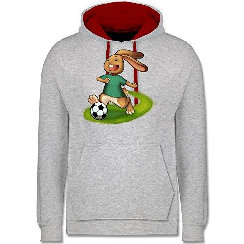 Fußball - Fußball Hase - Kontrast Hoodie Grau Meliert/Rot