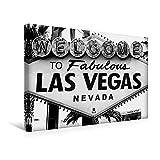 Calvendo Premium Textil-Leinwand 45 cm x 30 cm Quer, Ein Motiv aus Dem Kalender Las Vegas - Schwarzweiß | Wandbild, Bild auf Keilrahmen, Fertigbild auf Echter Leinwand, Leinwanddruck Orte Orte