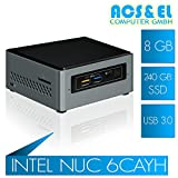Mini PC Intel NUC 6CAYH Mini ITX PC System Intel QuadCore J3455 4x 1.5-2.3GHz | 8GB DDR3-1600 | 240GB S-ATA SSD | Intel HD Graphics HDMI | 65W Netzteil, extern | onboard Soundchip | USB 3.0 Ports | Windows 10 - Testversion [98772_OHNE]