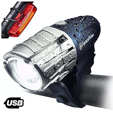 Apace Vision USB Rechargeable Bike Light Set – Powerful 300 Lumens LED Bicycle Headlight and Tail Light- Super Bright Front Light & Rear Light for Optimum Cycling Safety