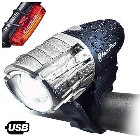 Apace Vision éclairage pour vélo USB rechargeable - lampe avant et arrière à LED pour vélo puissance 300 lumens - lampes avant & arrière ultra lumineuses pour une sécurité optimale (Bleue-Argent)