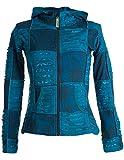 Vishes - Alternative Bekleidung - Kurze, leichte Patchworkjacke aus Baumwolle mit Zipfelkapuze und Cutwork türkis 42