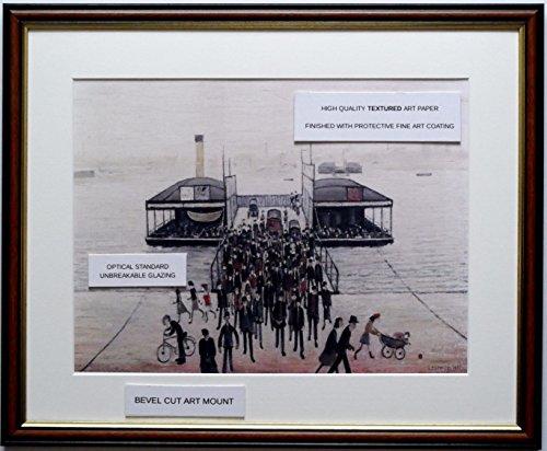 L S Lowry Spezialität Druck/Bild-Schwebender Steg, Southampton-auf einem Leinen Struktur Medium, Walnut Finish Frame With Soft White Mount And Large Image, 20 x 16inch -