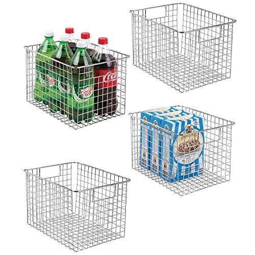 mDesign 4er-Set Allzweckkorb aus Metall - flexibler Aufbewahrungskorb für die Küche, Vorratskammer etc. - kompakter und universeller Drahtkorb mit Griffen - silberfarben -
