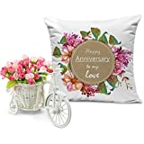 [Sponsored]TiedRibbons® Printed Cushion(12 Inch X 12 Inch) With Artificial Peonies Bunch And Cycle Vase | Marriage Anniversary Gift For Men | Anniversary Gift For Him | Anniversary Gift For Her | Wedding Anniversary Gift For Wife