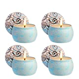 Zeonetak Citronella Kerzen Duftkerzen, 4 Stück Mückenschutzkerzen Mini Mini Weiß 4,8 Oz jedes Zitronengras, 100% natürliche Sojawachs Duftkerzen für Geburtstagsbad Yoga Weihnachten Valentinstag