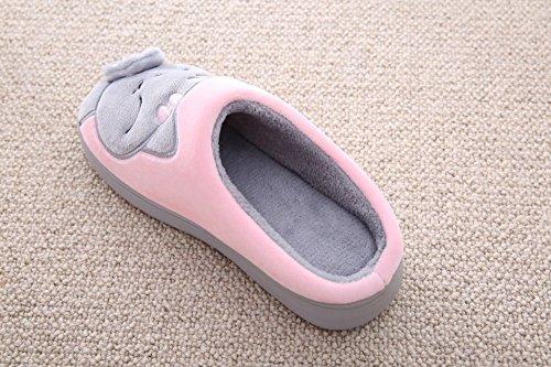 Cliont Mignon Chat Pantoufles Pantoufles Dhiver Intérieur Anti-Slip Chaussures Cadeau De Noël Pour Les Femmes Et Les Hommes Rose