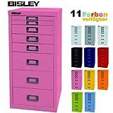 BISLEY Schubladenschrank 29 aus Metall mit 8 Schubladen | Schrank für Büro, Werkstatt und Zuhause | Stahlschrank in 11 Farben (Pink)