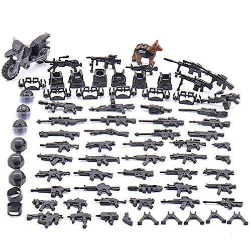 NURICH Helm + Custom Waffen Set für Soldaten Mini Figuren SWAT Team - Militär Set Lego