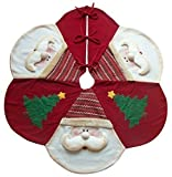 Grande Rosso Di Lusso Albero Di Natale Skirt - BABBO Design 121.9cm (122cm) - Assolutamente stupende, favolosa qualità e molto originale - Prodotto da tessuti misti e impreziosito con alberi di Natale e le facce di Santa tridimensionali. - Og...
