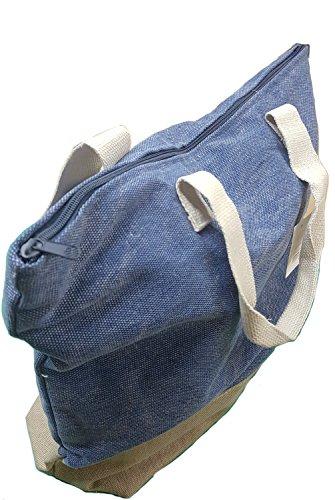 Borsa mare tempo libero mod. OTRANTO - canvas 100% cotone - Fermento Italia Blu