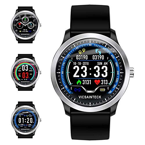 Vicsainteck Fitness Tracker, Smartwatch Android iOS Smart Watch Fitness Intelligente Uomo Donna Bluetooth Sport Pedometro Cardiofrequenzimetro 1,22 Pollice Colori Impermeabile