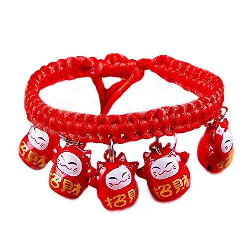 DWhui Haustier Hund/Katze Kragen mit Glocken Multily Designs gewebtes Schlüsselband verstellbare abreißbare Haustier Halsbänder für kleine/mittlere/große Hunde,#3,S