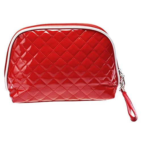 Fulltime® Femmes Waterproof Polka Dot flip Double Zipper Sac cosmétique