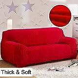 Dick Sofa umfasst 1/2/3/4-Sitzer-Pure Color Sofa Displayschutzfolie Samt Easy Fit elastischer Stoff Stretch Couch Bettüberwurf, rot, 3 Seater:195-230cm