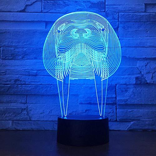 Niedliche Seelöwen abstrakte 3 d Nachtlicht bunte LED Stereo und Licht Geburtstagsgeschenk Fernbedienung kleine Tischlampe -