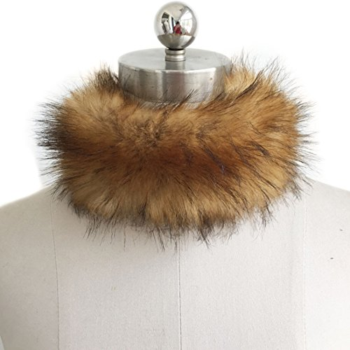 HBOS Damen Winter Kragen Kurz Warm Schal Pelzkragen Faux Pelz Super - Faux-pelz-schal Braun