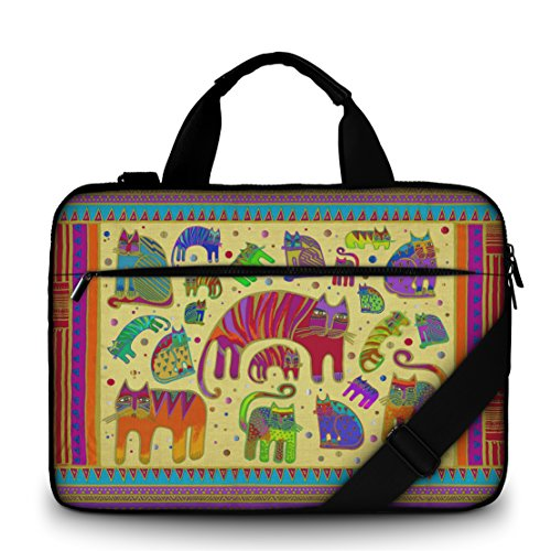 Luxburg® Design Gepolsterte Business- / Laptoptasche Notebooktasche 17,3 Zoll mit Schultergurt, Mehrzwecktasche, Motiv: Katzen