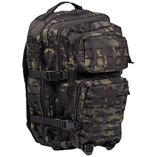 Mil-tec zaino militare tattico laser cut molle us assault - large - camo multitarn black