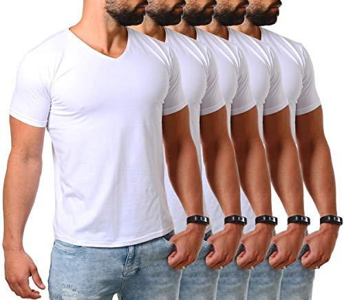 Young & Rich Herren V-Ausschnitt T-Shirt einfarbig körperbetont mit Stretchanteilen Uni Basic V-Neck Tee, Grösse:XL, Farbe:Weiß / 5 Stück