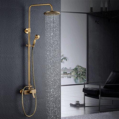 Auralum Duschsystem Dusch Set Luxus Retro Design 200x200mm Regendusche Kopf+Handbrause Höhe Einstellbar