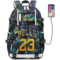 Lorh's store Jugador de Baloncesto Estrella Michael Jordan Mochila multifunción Estudiante de Viaje Mochila para fanáticos para Hombres Mujeres (Estilo 5)