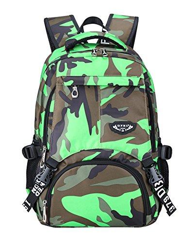 Schulrucksack Tarnung-farbe Schulranzen Schultasche Sports Rucksack Daypacks Backpack für Mädchen Jungen Kinder Damen Herren Gelb Grün
