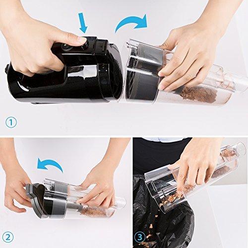 BESTEK Akku Handstaubsauger ohne Kabel, Li-Ionen-Akku Autostaubsauger beutellos,30 Minuten Laufzeit, starke Saugkraft(max. 3800Pa), 500 ml Schmutzbehälter, schwarz - 4