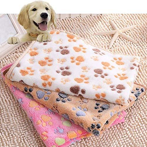 XdiseD9Xsmao Lovely Dog Cat Paw Pattern Mat Morbido Durevole Cuscino per Cani Caldo Cuscino per Lettino per Sollievo Articolare E Sonno Migliorato Bianca 40 cm x 60...