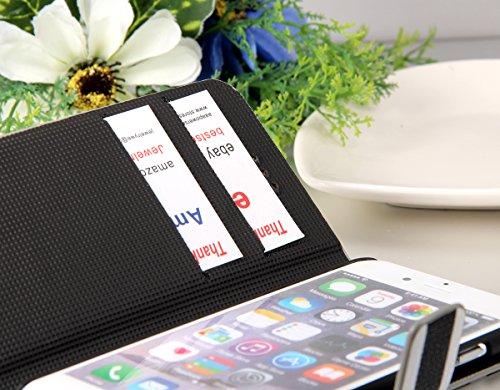 """JewelryWe Streifen PU Leder Flip Case Schutzhülle Tasche Klapp Hülle Etui Cover für Apple iPhone 6 Plus(5,5""""), Braun Weiss Braun Weiss"""