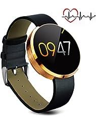 Bluetooth Smart Watch, MOREFINE IP67 Impermeable Multifunción Fitness Activity Tracker 1.22'' redonda lcd pantalla táctil Pulsera Inteligente para Android IOS Monitor de pulso cardiaco Podómetro