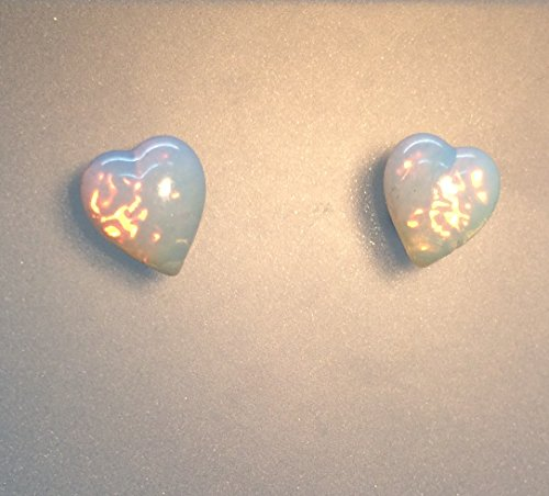 Orecchini stile vintage con opale ceco lattiginoso a forma di cuore in vetro con brillantini rosa/oro, con perno e supporto in argento sterling 925