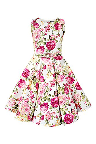BlackButterfly Kinder 'Audrey' Vintage Divinity Kleid im 50er-J-Stil (Elfenbein, 11-12 J / 146-152)