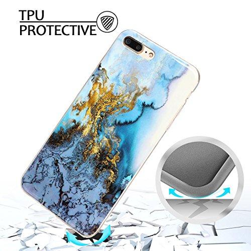 iphone 7 plus Hülle, Marmor Design Muster TPU Dünn Silikon Schutzhülle für iphone 7 plus , E-lush Kristallklar Durchsichtig Kratzfeste Handyhülle Ultra Chic Thin Weich Schutzhülle Rückschale Etui Bump grau