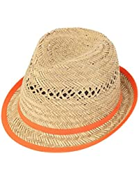 Mens Ladie Unisex Straw Summer Trilby Hat with Short Brim Coloured Band and Trim