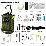 Emergency Survival Kit, 29 in 1 Paracord Grenade Mini Erste Hilfe Kits Whistle Feuer Starter Set Survival Messer Köder Kompass & mehr (Armee grün)