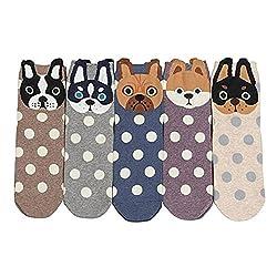 ZAKASA Womens Ladies Girls Hello Puppy Dogs Animation Print Crew Socks Dog Cotton Socks Crew Novelty Liner Socks 5-pack