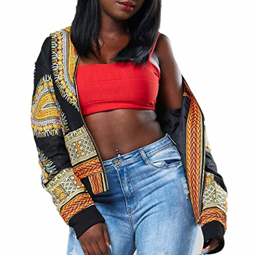 Frau Beiläufig Kurz Jacke Hirolan Lange Hülse Mode afrikanisch Drucken Dashiki Damen Dashiki Cocktailkleid Reißverschluss Jahrgang Outwear (XL, Schwarz) (Ärmel-mandarin-kragen-shirt)