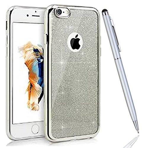 iPhone 6 Coque iPhone 6S Bling Case - Felfy Ultra Mince Scintiller Glitter Bling Shiny Paillette Coque Back Cover Silicone TPU Etui Housse Slim Cover Etui de Protection Cas en caoutchouc en Ultra Slim argent placage