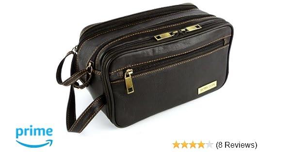 6c8d4dcb695f Mens Rowallan Brown Leather Wash Bag Travel Toiletries Travel Stylish   Amazon.co.uk  Luggage