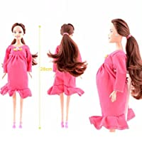 DIKEWANG Newest Design Simulation Real Pregnant Barbie Doll Suit Mom Doll Have A Baby In Her Tummy Custome Dress,Pregnat Mom Doll+Baby Doll+Maternity Dress (Pink)