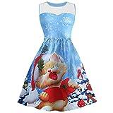 YWLINK Damen Ärmellos Spitze Rockabilly Swing Partykleid Faltenrock Weihnachts Drucken Elegant Cocktailkleid(XXXL,Blue b)