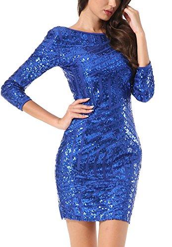 Yidarton Damen Paillettenkleid Langarm Rundhals Backless Partykleid Ballkleid Abend Minikleid (Blau, X-Large) - 4
