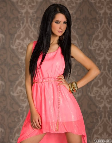 4640 Fashion4Young Damen Vokuhila-Minikleid Kleid Chiffon Abendkleid dress in 3 Farben Neonpink