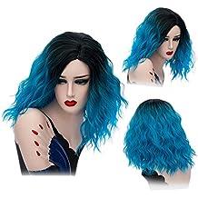 """CLOCOLOR 14"""" 35cm Peluca de Cabello Media Largo de Dos Tonos para Mujer Halloween Fiesta Disfraz Cosplay Wig Peluca Sintética Ondulada Corta Color Resistente(Negro y Azul)"""