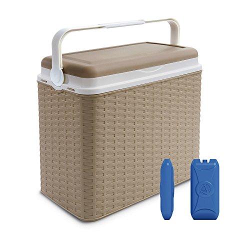 Grande borsa frigo da 24 litri, borsa termica per alimenti ideale per campeggio, spiaggia, picnic , plastica, beige, cooler box + 2 ice packs