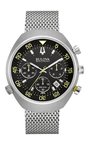 bulova-accutron-ii-lobster-96b236-quarzuhr-mit-schwarzem-zifferblatt-und-silbernem-armband-aus-edels