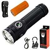 Rofis MR70 Lampe Torche Ultra Lumineux 3500 Lumens Torches Cree XHP70.2 P2 CW LED et CREE XP-G2 LED Lampe de Poche Rechargeable à double Lumière 6 modes d'éclairage avec SOS, avec une batterie au lithium 26650 5500mAh