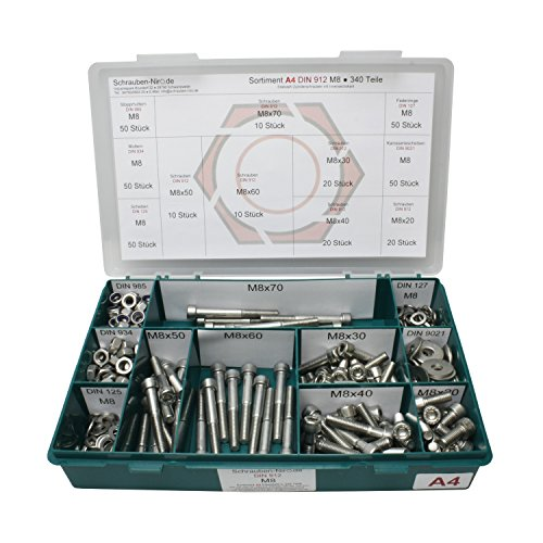 Sortiment M8 DIN 912 Edelstahl A4 (V4A) Zylinderschrauben (Innensechskant) - Set bestehend aus Schrauben, Unterlegscheiben (DIN 125, 127, 9021) und Muttern (DIN 934, 985) - 340 Teile
