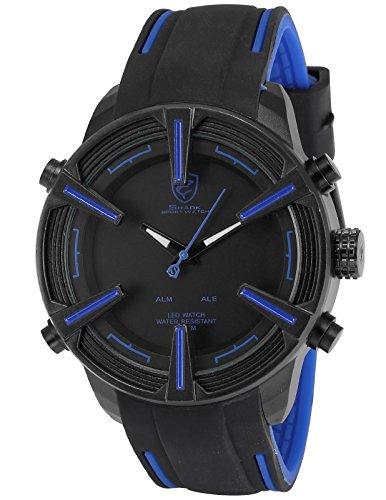 Shark Herren LED Armbanduhr Schwarz Zifferblatt Silikon Armband Wecker Datumanzeige SH386
